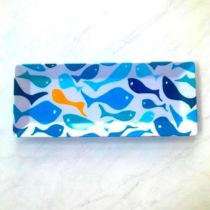"Pottery Barn Fish Tray NWOT Blue & White 19"" x 8"""